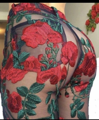 jeans see through pants rose