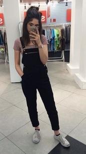 pants,black,overalls,jumpsuit,denim overalls,cute outfits,jeans,black overalls,zip