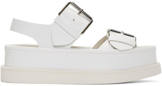 buckles sandals white shoes