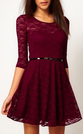 dress burgundy dress graduation dress lace dress long sleeves