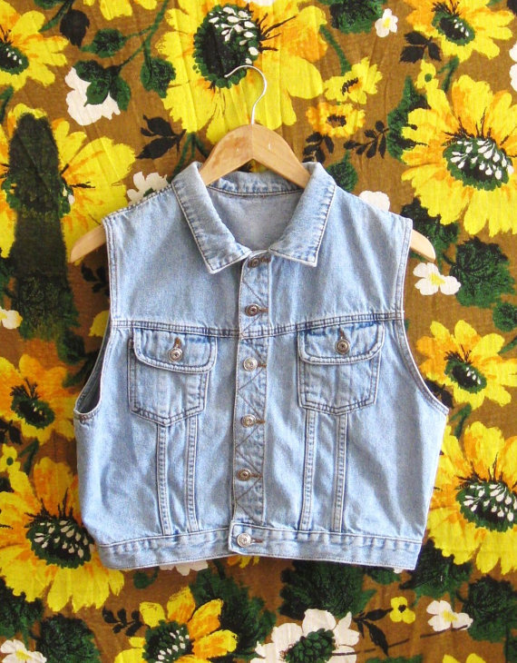 Soft light wash cropped denim vest m/l by theseoldboots on etsy