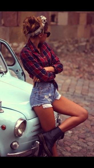 shirt plaid shirt plaid flannel shirt shorts hair accessory