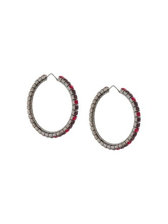 earrings hoop earrings red jewels