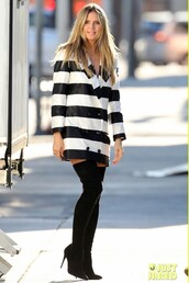 jacket,celebrity,stripes,black and white,heidi klum,boots