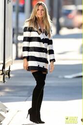 jacket,celebrity,stripes,black and white,heidi klum,boots