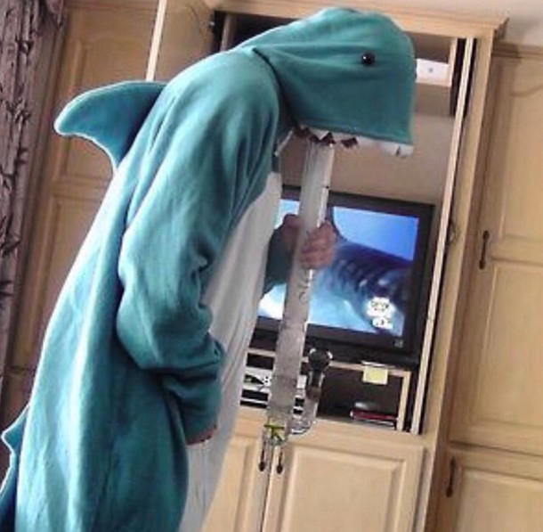 pajamas shark leftshark sharkonesie onesie katyperry biggigantic blue