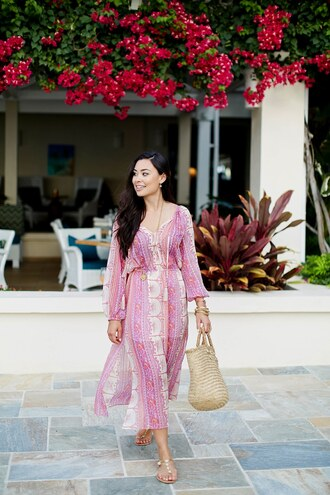 dress tumblr maxi dress long sleeves long sleeve dress pink dress bag woven bag sandals flat sandals shoes