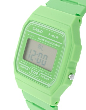 Casio | Casio F-91WC-3AEF Digital Green Watch at ASOS