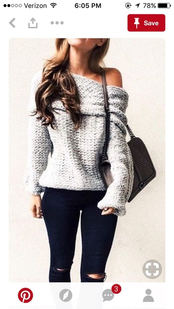 sweater white offshoulder fall outfits thick sweater
