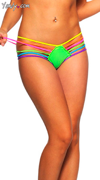 Rainbow Strap Hipster Panty, Neon Multicolor Strap Bottom, Rainbow Panty