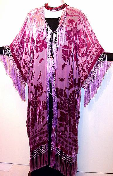 Hand Dyed Kimono Fringe Jacket Duster Silk Burnout Velvet Wine Rose New | eBay