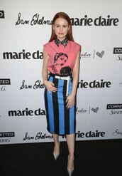 skirt,shirt,top,stripes,spring outfits,midi skirt,madelaine petsch