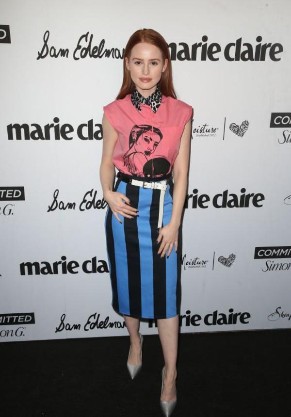 skirt shirt top stripes spring outfits midi skirt madelaine petsch