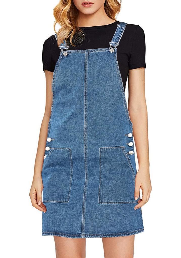 Blue Side Pockets Overall Denim Pinafore Dress