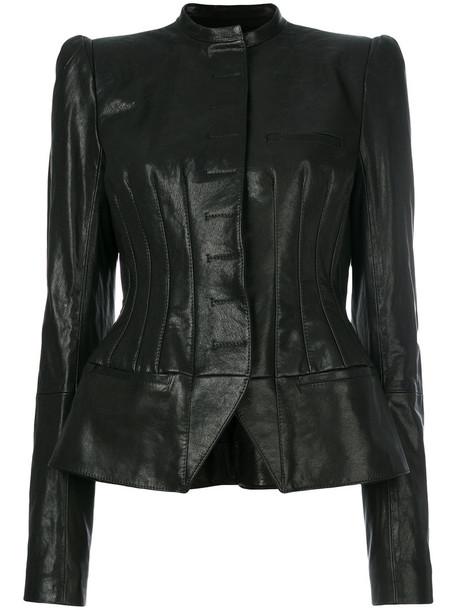 Haider Ackermann jacket biker jacket women leather cotton black