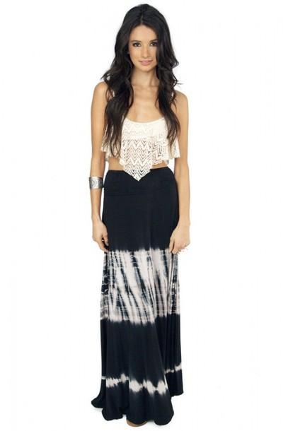skirt tie dye maxi lace crochet black white hippie hippie shirt
