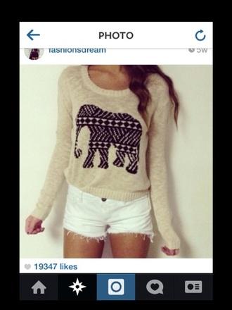 sweater elephant elephant sweater beige top long sleeve black elephant design aztec tribal pattern white shorts white shorts cute outfit