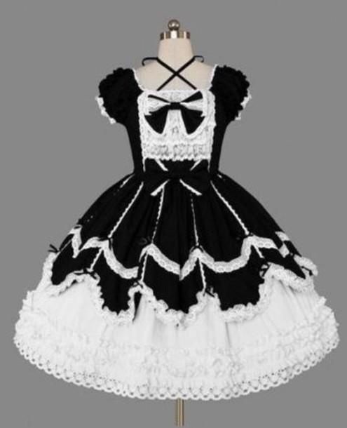 Dress Goth Lolita Lolita Dress Black And White Lace White Lace