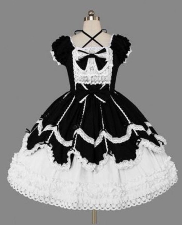 Cheap Black And White Scoop Ribbon Ties Gothic Lolita Dress Sale At