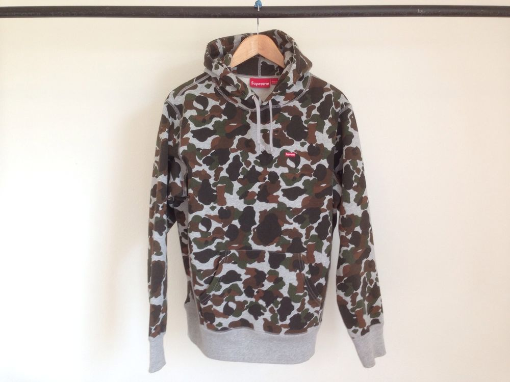 Supreme camo brown pullover hoodie sweater red box logo camp cap cdg floral m