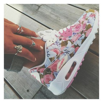 shoes floral floral sneakers low top sneakers air max nike shoes nike sneakers white nikes cute flora nikes flowers vintage pretty blue pink jewels floral nikes max 90 print nike air max women