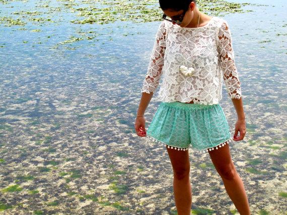 Pom Pom Shorts  inspirierte Mint grün Muster mit von ljcdesignss