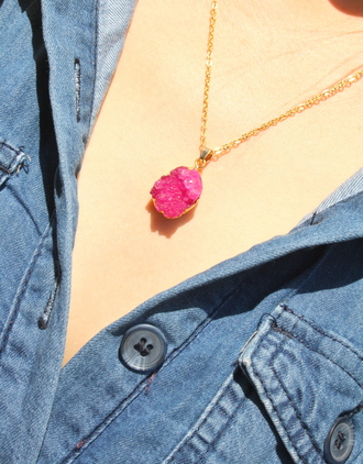 jewels druzy stone necklace natural stone necklace crystal quartz pink quartz druzy necklace