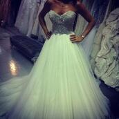 dress,white,glitter,diamands,diamonds,white dress,prom bal,glitter dress,prom dress,bag,sparkling dress,wedding dress,perfect,princess wedding dresses,princess dress,jewels,sequins,silver,silver glitter,me,sparkle,sequence,ball gown dress,strapless,sparkly dress,poofy dress,bracelets,sexy dress,mint cocktail gown,pretty,sequin dress,formal party dresses,long prom dress,cream dress,sweetheart dress,white wedding dress,poofy,mint,mint dress,puffy dress,elegant,green dress,strapless sequin tulle dress,sweet 16 dresses,prom gown,gown,boobtube,bling,badazled,wheredoigetit,sparkly prom dress,green sparkly dress,tulle skirt