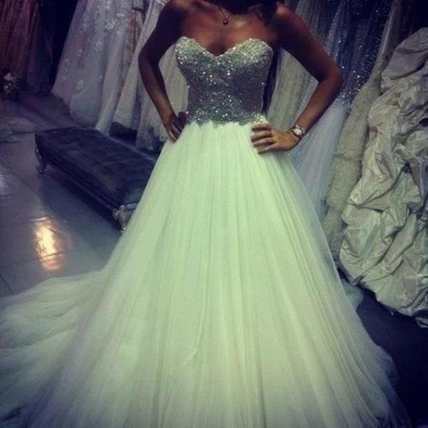 Dress white glitter diamands diamonds white dress for Strapless sparkly wedding dresses