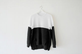 sweater dark goth punk black fashion pullover bicolor tie dye black and white stripes