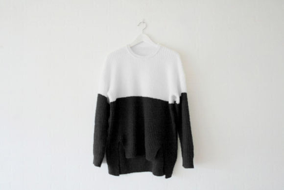 bicolor sweater pullover black and white dark goth punk black fashion tie dye striped stripes