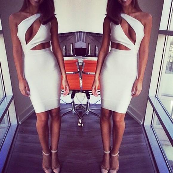 white dress bandage dress midi bandage dresses midi bandage dress party dress cut-out dress midi dress clubwear new year's eve cut out dresses