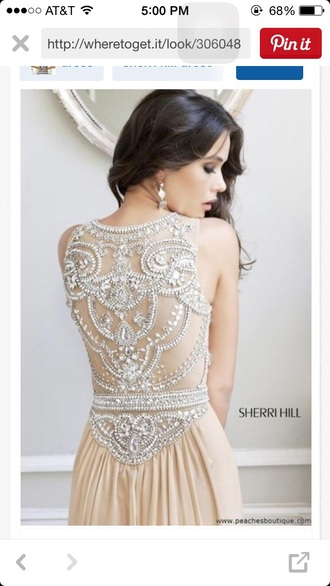 dress sherri hill cream prom dress