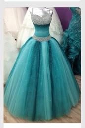 dress,turqoise dress,prom,blue,ombre,gradient,beautiful,blue dress,tulle dress,beaded dress,ball gown dress,prom dress,gorgeous,blue prom dress,quinceanera dress,long dress,teal dress