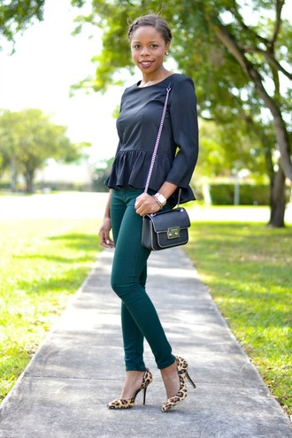 cha cha the fashion genius blogger ruffle three-quarter sleeves black top skinny pants leopard print high heels