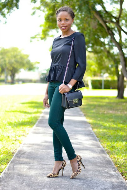 cha cha the fashion genius blogger ruffle three-quarter sleeves black top skinny pants leopard print high heels