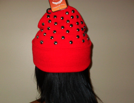 Red Studded Beanie Hat by CheetahnotCougar on Etsy