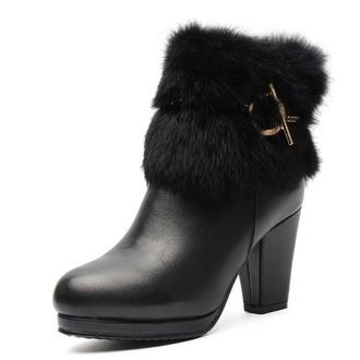 shoes noir fourrure bottines ? talon