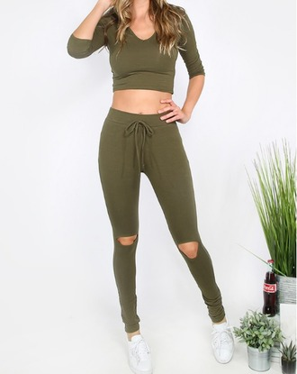 jumpsuit girl girly girly wishlist olive green khaki joggers crop crop tops cropped matching set joggers pants