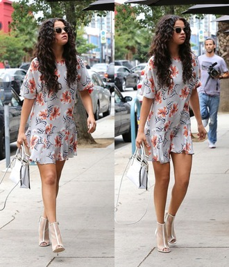 selena gomez pretty white shoes white heels peep toe boots