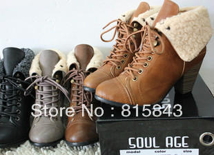 High quality free shipping Fashion british style lacing round toe thick heel trophonema female ankle boots medium leg boots-inBoots from Shoes on Aliexpress.com   Alibaba Group