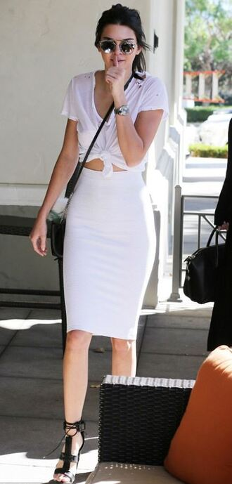 skirt top pencil skirt white white skirt sandals kendall jenner shoes