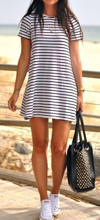 dress white striped dress navy white dress long dress summer dress