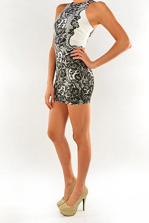Lace look mini dress