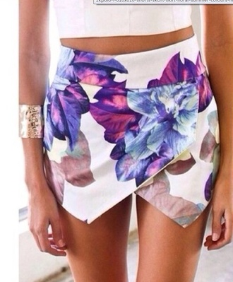 shorts skirt white purple flowers fashion flowered shorts floral skirt girly classy