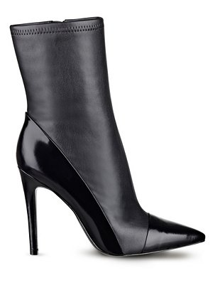 Oblong Mid-Calf Pointed-Toe Booties at Guess