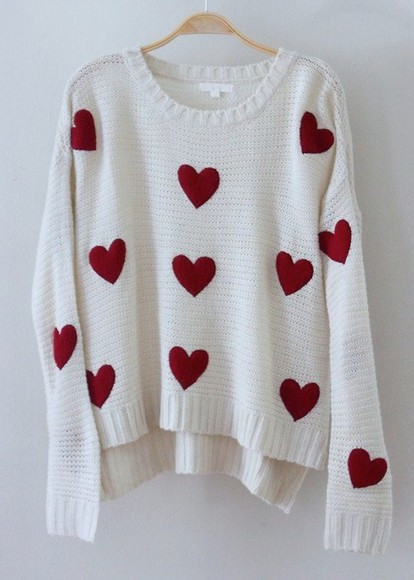 rope cream hearts sweet lovely white cute heart sweater winter sweater red knit sweater pull over white sweater with red hearts heart print valentines day