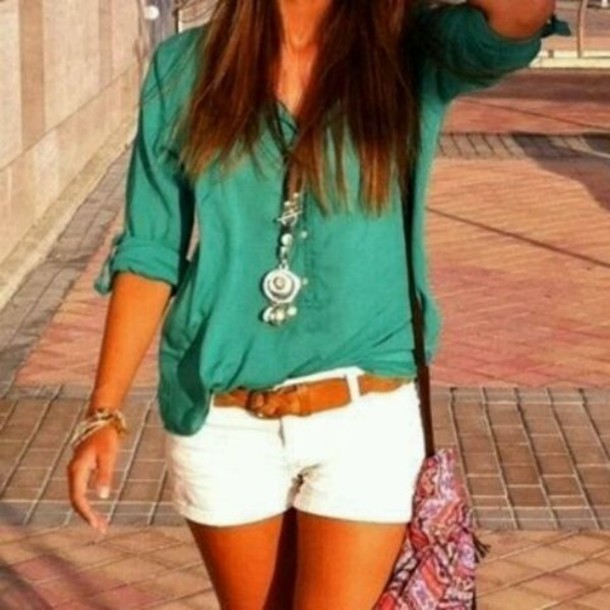teal shirt tan belt white shorts green blouse belt shorts shirt jewels bag top necklace turquoise style spring green blouse
