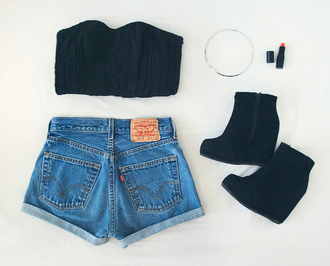 bra corset black swimwear shorts shoes underwear shirt
