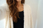 cardigan,fluffy,off-white,jacket,white jacket,loose,faux fur,warm,sweater,shoes,nike,dress,black and white dress,gown,prom dress